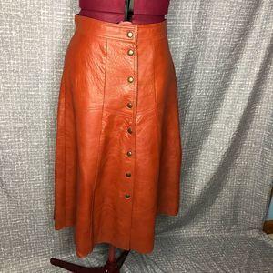 Leather A line skirt 1970's sz S